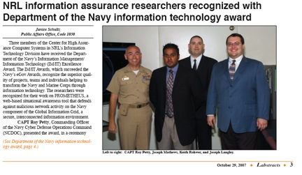 NRL Information assurance researchers recognized with Department of the Navy Information Technology award